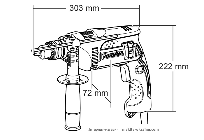 Ударная дрель MAKITA HP1640K + набор сверл