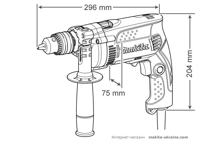 Ударная дрель MAKITA HP1630 + набор сверл
