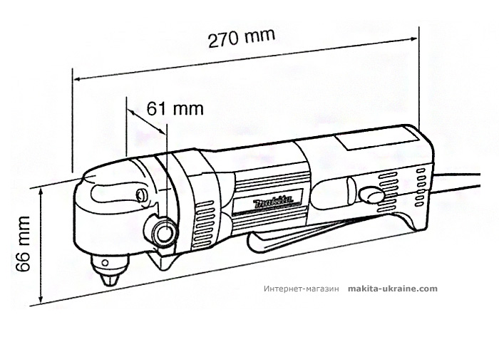 Угловая дрель MAKITA DA3010F