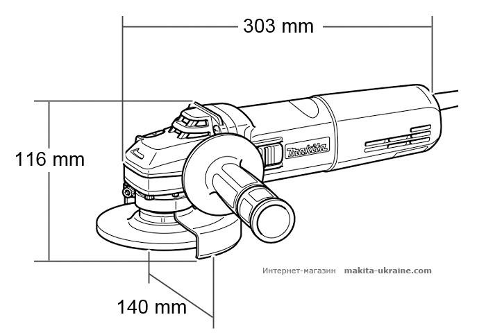 Болгарка (УШМ) MAKITA GA5040 + кейс 824806-0 + быстрозажимная гайка