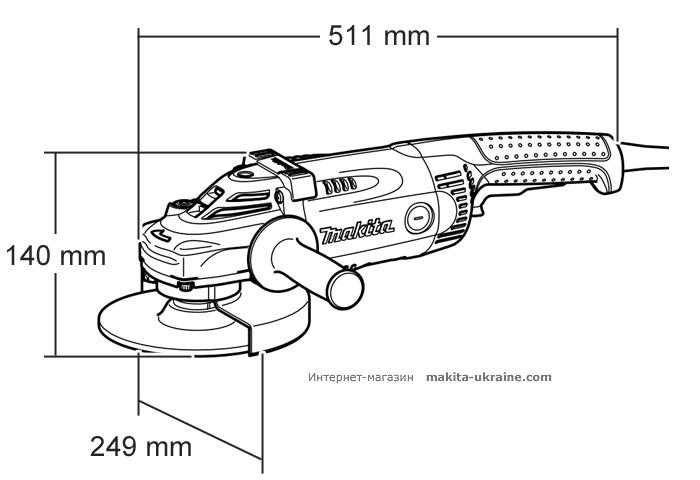 Болгарка MAKITA GA9030RF01 + быстрозажимная гайка + кейс 824958-7