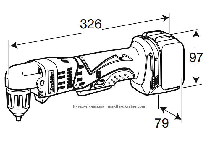 Аккумуляторная угловая дрель MAKITA DDA341RFE