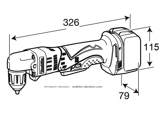 Аккумуляторная угловая дрель MAKITA DDA351Z