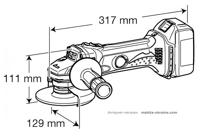 Аккумуляторная болгарка MAKITA BGA450RFE